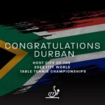 MAYOR KAUNDA WELCOMES ANNOUNCEMENT FOR DURBAN TO HOST WORLD TABLE TENNIS CHAMPIONSHIP IN 2023